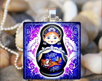 10% OFF JUNE SALE : Russian Nesting Doll Matryoshka Babushka Russian Stacking Dolls Glass Pendant Necklace Keyring - Blue/Purple