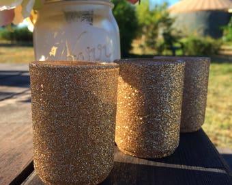 Champagne Glitter Votive Holders