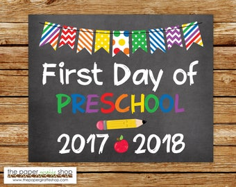 First Day of Preschool Sign | Chalkboard Sign | First Day of School Sign | First Day of Preschool | Back to School Printable