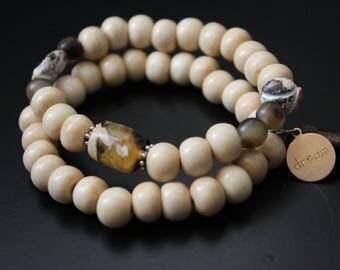Tribal two bracelet set -  African beads fall bracelets - tassel bracelet neutral colors - stacking set boho festival urban safari bracelets