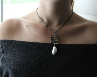 Hand forged sterling pendant necklace -  pearl necklace - keishi pearl necklace - pearl jewelry - sterling necklace - holiday gift for her