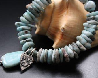 All genuine larimar and sterling artisan paw print heart charm bracelet, Valentine's Day gift for her, animal lovers bracelet, beach boho