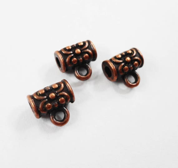 Copper Jewelry Bails 7x6mm Antique Copper Bails, Tiny Bails, Small Necklace Bails, Jewelry Findings, Beading Supplies, Craft Supplies, 10pcs