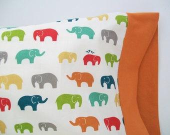 Organic Toddler Pillowcase, Organic Travel Pillowcase, Custom Pillowcase, Elephant Pillowcase, Elephants, Elephant in the Room - Bird