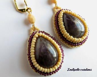 Embroidered earrings amethyst and miyuki