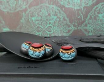 Stamped Polymer Flat Round Bead - Red Teal Bronze Black Gunmetal - Handmade Bohemian Round Bead - 12mm - Pkg. 4