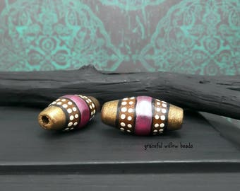 Moroccan Style Hand Painted Wood Bicone Tube Bead - Pink Pearl Brown Brass Ivory Polka Dot - 24x12mm - Pkg. 2