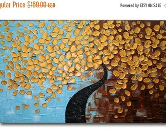SALE Original Modern  Gold Tree  Acrylic  Impasto Textured  Palette Knife  Painting . MADE2ORDER.