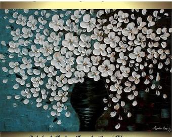 SALE Original  White Flowers  Acrylic Impasto Textured Fine Art   Palette Knife Painting. 40 x 30.