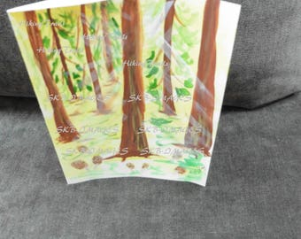 Hand Painted Note Card, Morel  Forest, woodland style, forest sunrays, forest n mushrooms decor, Fine Art Watercolor by HikingTrails