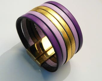 leather cuff purple lilac and gold with gold magnetic clasp