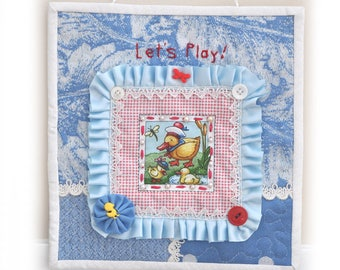 Baby, Toddler, wall decor, nursery, Mini Fabric Art Quilts, Lets Play, Handmade, OOAK, Fabric Art Collage, Cottage Chic, fiber arts