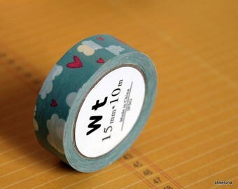Masking tape / adhesive tape / adhesive tape clouds and hearts 15mm x 15m