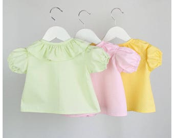 SALE - 3X Girls Blouse - 100% cotton short sleeve Polka dots  Blouse -  Green, pink and Yellow - Size 6 Months (6-9 Mo) (Discount INCLUDED)