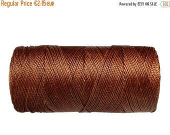 ON SALE Brown Cord, Waxed Polyester Thread, 15 meters/16 yards Friendship Bracelet String, Micro Macrame - Brown