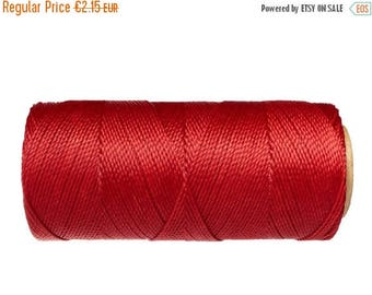 ON SALE Linhasita Macrame Cord, 15 meters/16 yards, Knotting Cord, Waxed Polyester - Bright Red