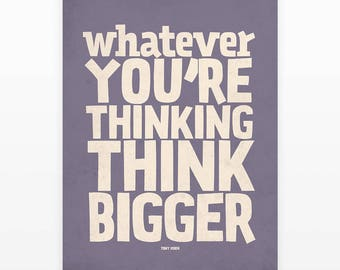 Poster quote, Think big, Office wall art, Purple wall art, Office wall art, Quote posters, Typography art, Think big quote, Wall decor