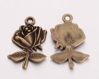 Flower Charms Pendants Antiqued Bronze Rose Pendants Bronze Charms SAMPLES Garden Charms Wholesale Charms 2 pieces 25mm