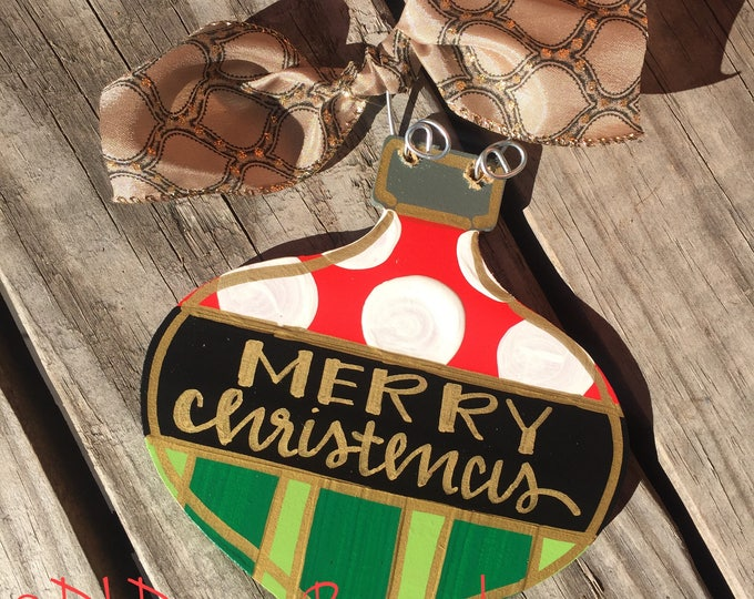 Christmas ornament wood hand lettered