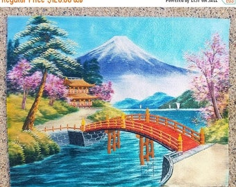 ON SALE Vintage Japanese  Hand Embroidered Silk Thread Picture Art Mt. Fuji Japan, Asian,