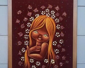 ON SALE Vintage Mexican Velvet Painting Art Big Eye Girl Velvet Painting, Kitsch, Retro, Flowers
