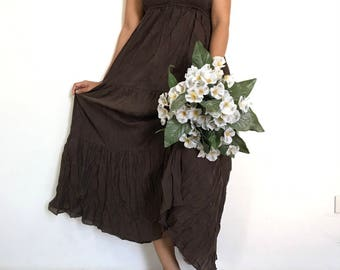 Sexy....Brown  Maxi Beautiful  cotton Dress/Summer Dress/Party Dress