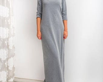 SALE ON 20 % OFF Grey Maxi Dress, Long dress, Fall dress, Casual dress, Day dress, Long Dress