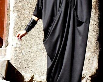 SALE NEW SPRING Collection Black  Kaftan Front Cross Pockets / Maxi Black Dress / Asymmetrical Caftan Dress by Aakasha_A03165