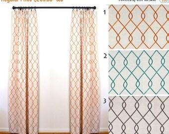 SALE Curtains 2 Curtain Panels Draperies Window Treatments Duralee Rico Linen