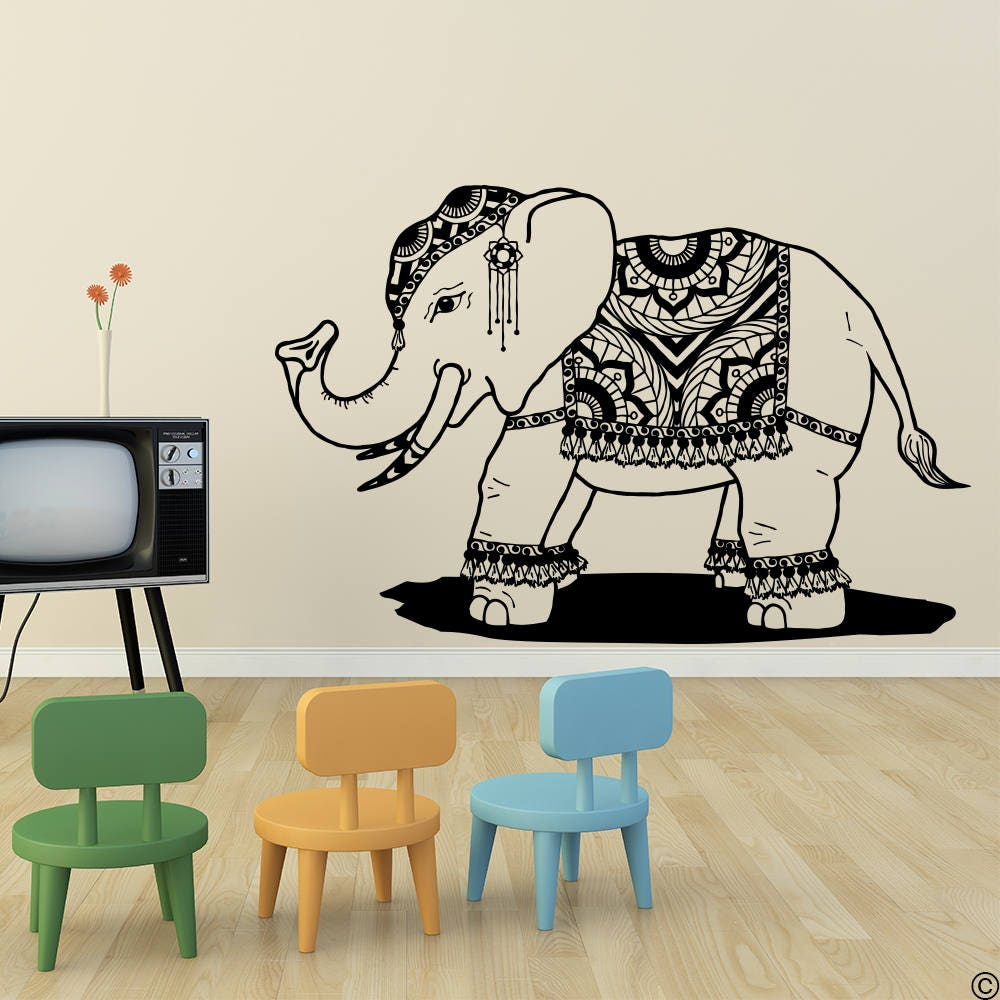 Hand Drawn India Elephant with a Mandala Blanket Vinyl Wall Decal ...
