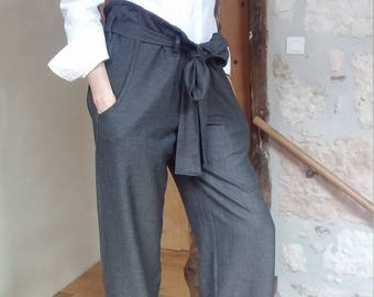 Broad pants / adjustable / comfortable / brown. 00218