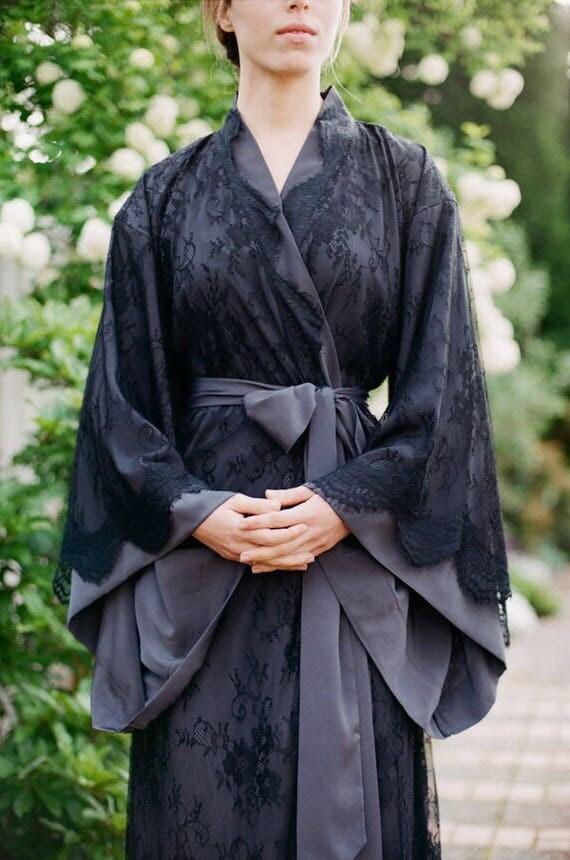 "Long ""Fountainbleu"" lace robe Black Lingerie kimono in faux silk crepe Oriental Burlesque Boudoir French Art deco luxury robe Femme fatale"