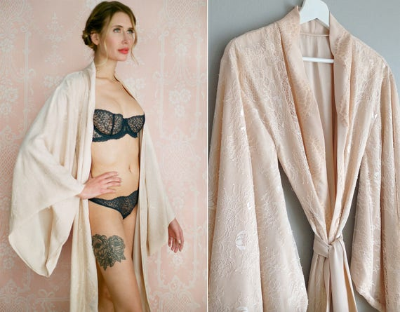 """Readymade Fountainbleu Fully lined """"Noguchi"""" lace robe Long nude blush bridal lingerie robe lined with soft faux silk. Gift for her. US 4-6"""