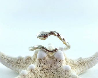 One of a kind sterling silver twisted snake ring