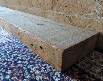 "Reclaimed Wood Fireplace Mantel 95"" x 7-1/2"" x 2-1/2"" Reclaimed Barn Beam Mantel Shelf - Kitchen Display Mantle Shelf - Office Mantelpiece"