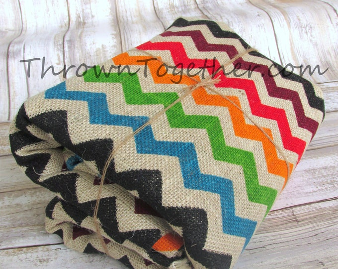 "Chevron Burlap Fabric, Bright Multi Color Chevron Burlap, 72"" L x 47"" W Multi Colored Chevron Print on Ecru Background Burlap"