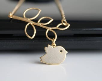 Lovely bird necklace, matte gold twig necklace, simple everyday jewelry