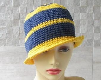 Sun Hat Cotton Sun Chemo Hat Crochet Summer Hat Perfect Beach Accessories  For Ladies Yellow Blue Cotton Cloche