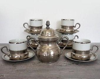 SALE Vintage Coffee Serving Set  Espresso Serving Set Pewter Coffee cups set Made in Italy , vintage retrò tableware