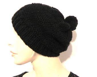 Wool Hat hand knitted black with Pompom women winter fashion accessories