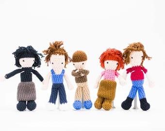 The Breakfast Club Set of 5 Stuffed Dolls - Amigurumi Breakfast Club Set - Brat Pack Crochet Doll Set