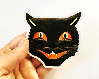 Black Cat Sticker | Vintage Halloween Vinyl Sticker | Creepy Sticker | Laptop Sticker | Vinyl Decal | Waterbottle Sticker Yeti