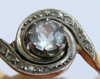 Antique-French-Art Nouveau-18ct Gold/Platinum/Aquamarine/Diamond Belle Epoque Tourbillon Ring-circa 1910