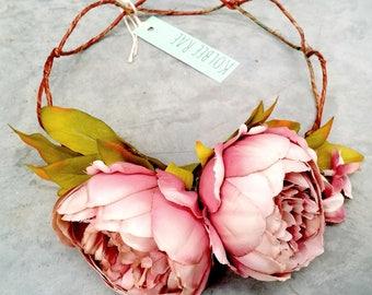Peonies & Blossoms Floral Crown Mauve
