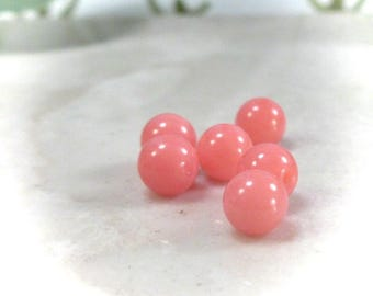 Coral Gemstone Beads 4mm 10 pcs R1028 - Coral Beads, Gemstone Beads, 4mm Beads, Orange Beads, Necklace Beads, Earring Beads, Bracelet Beads