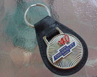 1940 '40 Chevrolet Chevy Truck Car Silver Star Classic Collector Car Leather Key Fob Handcrafted in USA