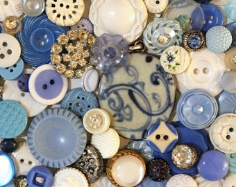 China Blue*Blue and White Button Pack*French Blue Button Lot*75 Buttons