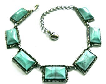 Vintage Statement Necklace Big Chunky Links  Turquoise Blue Plastic Cabs in Silver Tone  1960s  Mid Century Modern