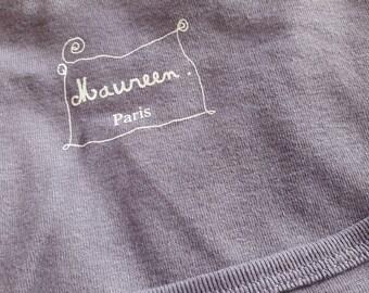 size S T-shirt purple gray neck dancer 100% cotton discontinued