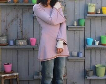 pink powder Bell sleeved tunic dress